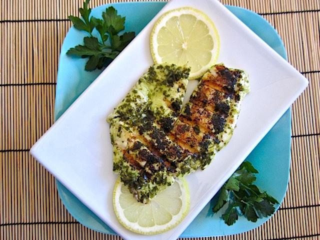 Garlic Lemon Fish blue plate