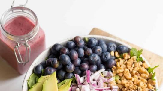 Healthy Salad with Blueberry Lemon Vinaigrette